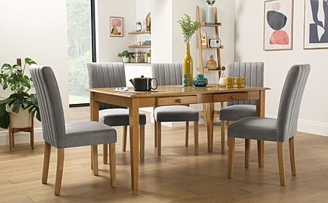 Wiltshire Oak Dining Table with Storage with 6 Salisbury Grey Velvet Chairs