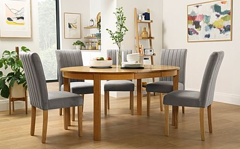Marlborough Round Oak Extending Dining Table with 6 Salisbury Grey Velvet Chairs