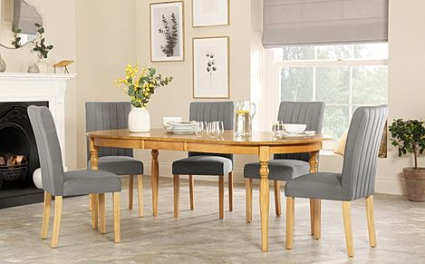 Albany Oval Oak Extending Dining Table with 6 Salisbury Grey Velvet Chairs