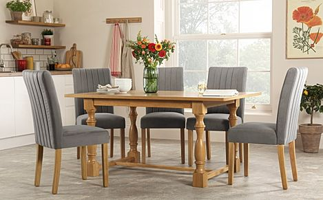 Devonshire Oak Dining Table with 4 Salisbury Grey Velvet Chairs