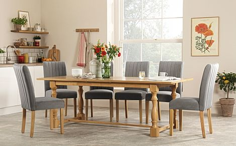 Devonshire Oak Extending Dining Table with 6 Salisbury Grey Velvet Chairs