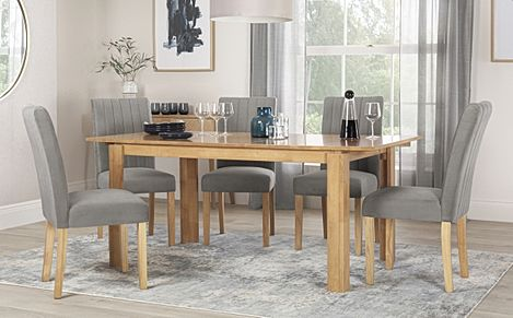 Bali Oak Extending Dining Table with 6 Salisbury Grey Velvet Chairs