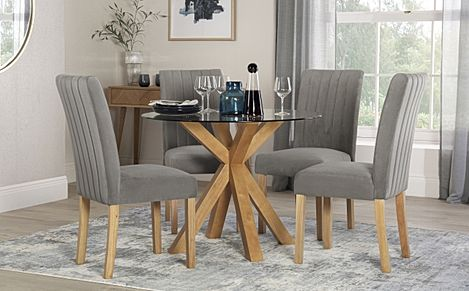 Hatton Round Oak and Glass Dining Table with 4 Salisbury Grey Velvet Chairs