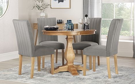 Cavendish Round Oak Dining Table with 4 Salisbury Grey Velvet Chairs