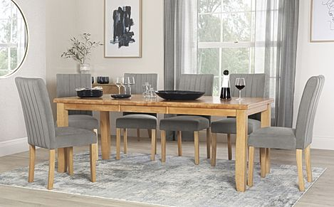 Highbury Oak Extending Dining Table with 6 Salisbury Grey Velvet Chairs