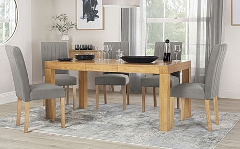 Cambridge 125-170cm Oak Extending Dining Table with 4 Salisbury Grey Velvet Chairs