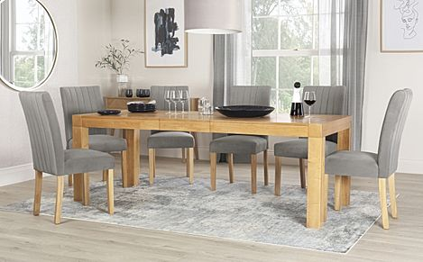 Cambridge 175-220cm Oak Extending Dining Table with 6 Salisbury Grey Velvet Chairs