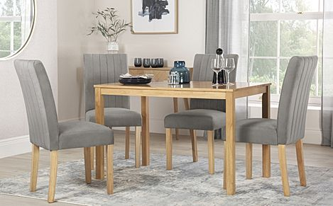 Milton Oak Dining Table with 4 Salisbury Grey Velvet Chairs
