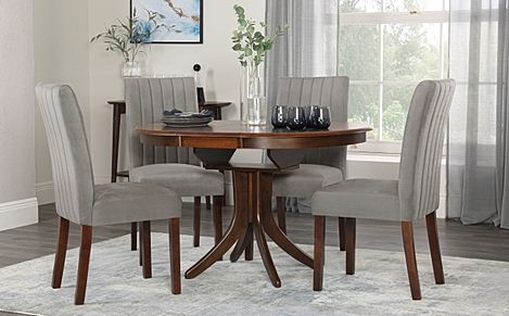 Hudson Round Dark Wood Extending Dining Table with 4 Salisbury Grey Velvet Chairs