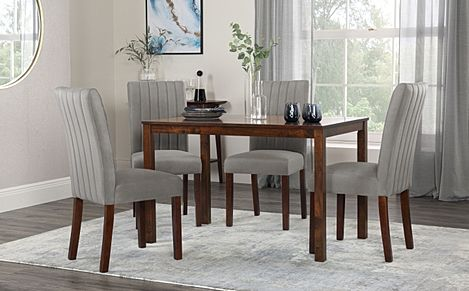 Milton Dark Wood Dining Table with 4 Salisbury Grey Velvet Chairs