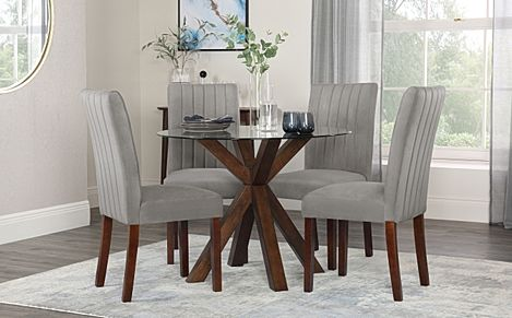 Hatton Round Walnut and Glass Dining Table with 4 Salisbury Grey Velvet Chairs