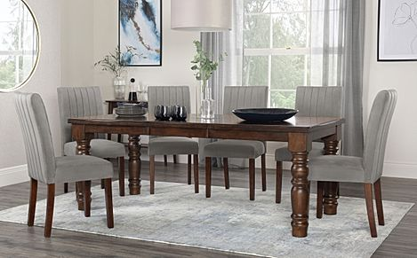 Hampshire Dark Wood Extending Dining Table with 8 Salisbury Grey Velvet Chairs