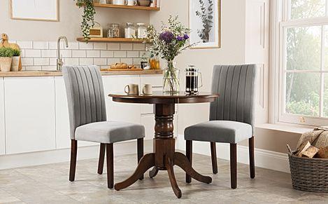Kingston Round Dark Wood Dining Table with 2 Salisbury Grey Velvet Chairs