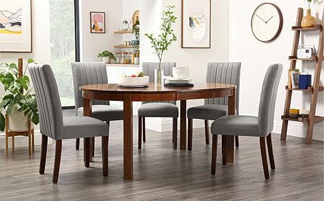 Marlborough Round Dark Wood Extending Dining Table with 4 Salisbury Grey Velvet Chairs