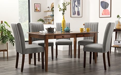 Wiltshire Dark Wood Dining Table with Storage with 4 Salisbury Grey Velvet Chairs