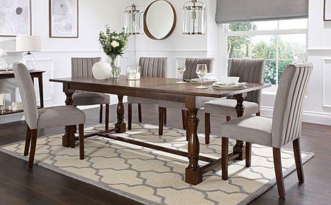 Devonshire Dark Wood Extending Dining Table with 4 Salisbury Grey Velvet Chairs