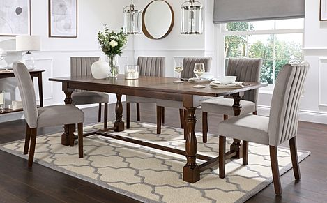 Devonshire Dark Wood Extending Dining Table with 8 Salisbury Grey Velvet Chairs