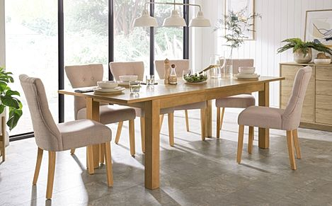 Hamilton Oak 180-230cm Extending Dining Table with 4 Bewley Oatmeal Fabric Chairs