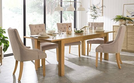 Hamilton 180-230cm Oak Extending Dining Table with 6 Duke Oatmeal Fabric Chairs
