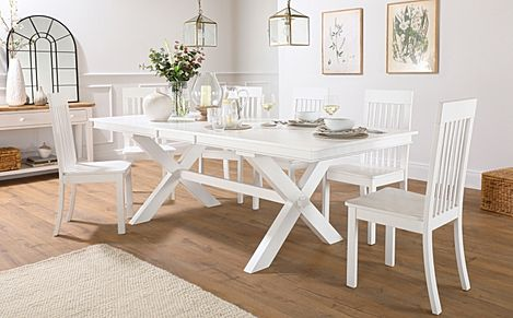 Grange White Extending Dining Table with 6 Oxford Chairs