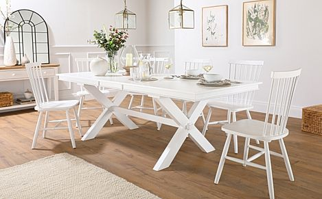 Grange White Extending Dining Table with 8 Pendle Chairs