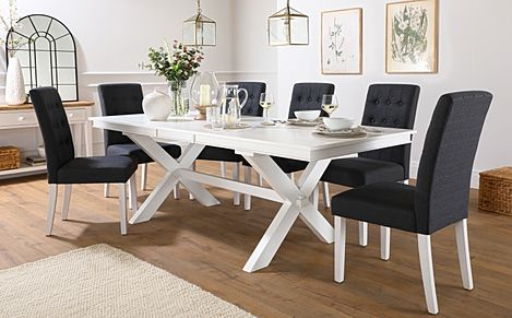 Grange White Extending Dining Table with 8 Regent Slate Fabric Chairs