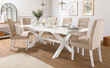 Grange White Extending Dining Table with 6 Regent Oatmeal Fabric Chairs