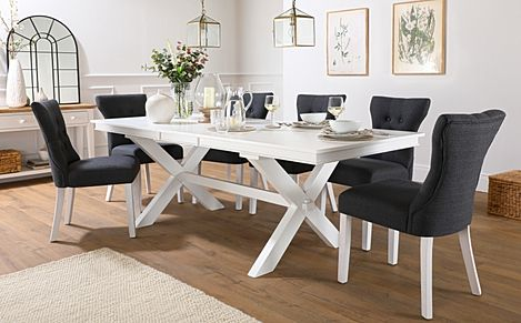 Grange White Extending Dining Table with 8 Bewley Slate Fabric Chairs