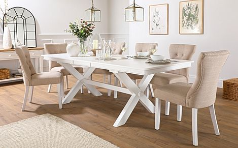 Grange White Extending Dining Table with 6 Bewley Oatmeal Fabric Chairs
