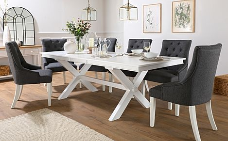 Grange White Extending Dining Table with 8 Duke Slate Fabric Chairs