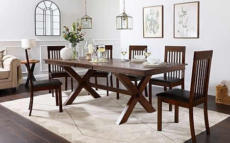 Grange Dark Wood Extending Dining Table with 8 Oxford Chairs (Brown Leather Seat Pads)