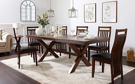 Grange Dark Wood Extending Dining Table with 4 Java Chairs (Brown Leather Seat Pads)