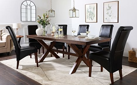 Grange Dark Wood Extending Dining Table with 4 Boston Brown Leather Chairs