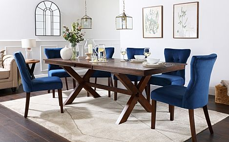 Grange Dark Wood Extending Dining Table with 6 Bewley Blue Velvet Chairs