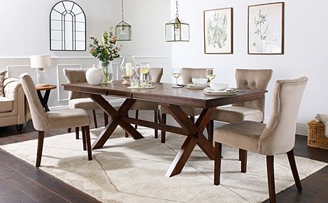 Grange Dark Wood Extending Dining Table with 8 Bewley Mink Velvet Chairs