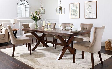 Grange Dark Wood Extending Dining Table with 8 Bewley Mink Velvet Chairs