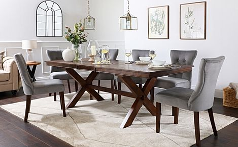 Grange Dark Wood Extending Dining Table with 8 Bewley Grey Velvet Chairs