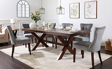 Grange Dark Wood Extending Dining Table with 8 Bewley Grey Velvet Chairs