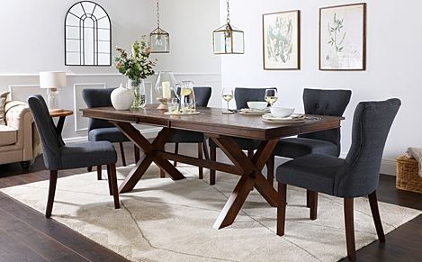 Grange Dark Wood Extending Dining Table with 8 Bewley Slate Fabric Chairs