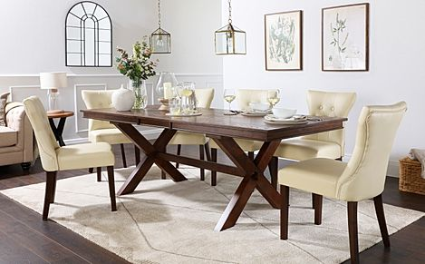 Grange Dark Wood Extending Dining Table with 6 Bewley Ivory Leather Chairs