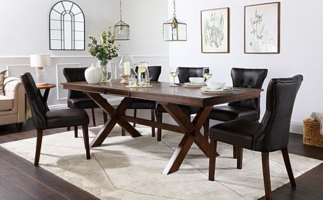 Grange Dark Wood Extending Dining Table with 8 Bewley Brown Leather Chairs