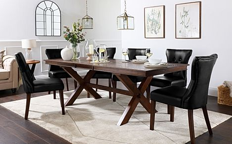 Grange Dark Wood Extending Dining Table with 6 Bewley Black Leather Chairs
