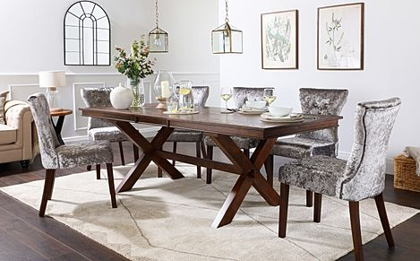 Grange Dark Wood Extending Dining Table with 6 Bewley Silver Velvet Chairs