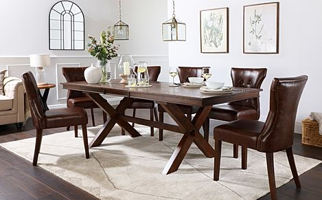 Grange Dark Wood Extending Dining Table with 8 Bewley Club Brown Leather Chairs