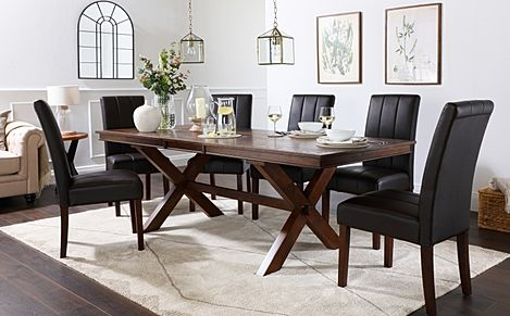 Grange Dark Wood Extending Dining Table with 8 Carrick Brown Leather Chairs