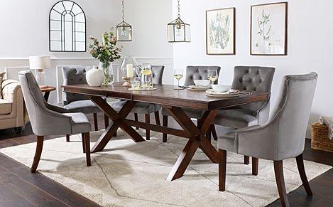 Grange Dark Wood Extending Dining Table with 8 Duke Grey Velvet Chairs