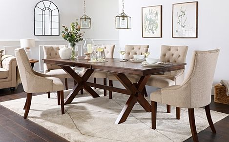 Grange Dark Wood Extending Dining Table with 8 Duke Oatmeal Fabric Chairs