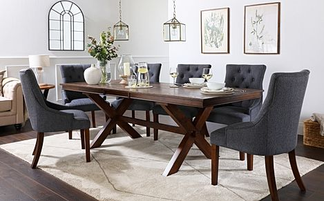 Grange Dark Wood Extending Dining Table with 8 Duke Slate Fabric Chairs