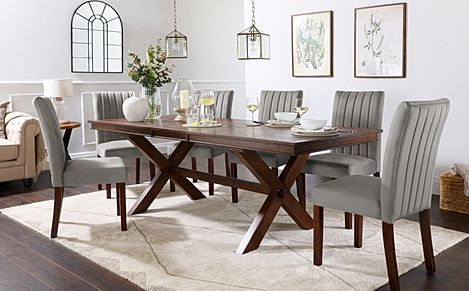 Grange Dark Wood Extending Dining Table with 8 Salisbury Grey Velvet Chairs