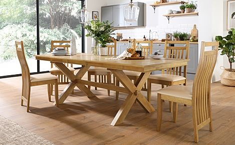 Grange Oak Extending Dining Table with 8 Bali Chairs (Ivory Leather Seat Pads)